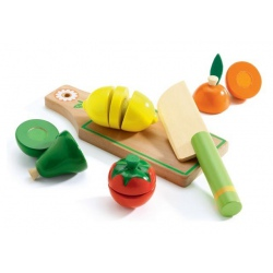 Drewniane owoce i warzywa do krojenia