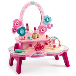 FLORA drewniana toaletka różowa