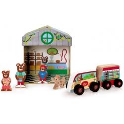 SKLEP 2w1 tekturowy domek z drewnianymi figurkami
