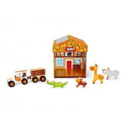 OUTLET - SAFARI tekturowy domek z drewnianymi figurkami