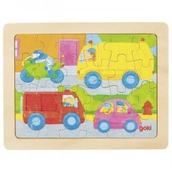POJAZDY drewniane puzzle 24 el.