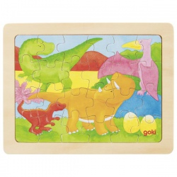 DINOZAURY drewniane puzzle 24 el.