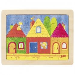 DOMKI drewniane puzzle 24 el.
