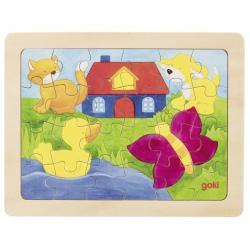 DOMEK NA WSI drewniane puzzle 24 el.
