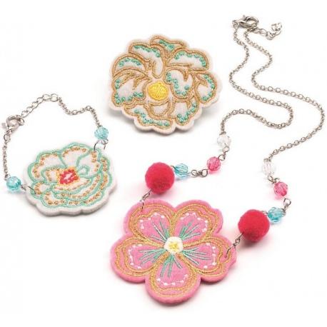 KWIATKI wyszywana biżuteria naszyjnik bransoletka przypinka