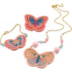 MOTYLKI wyszywana biżuteria naszyjnik bransoletka przypinka