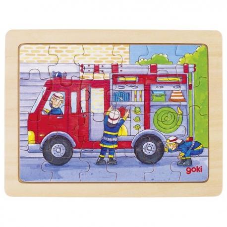 STRAŻ POŻARNA drewniane puzzle 24 el.