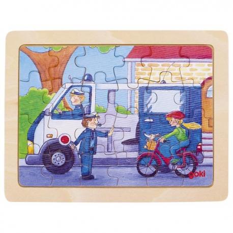 POLICJA drewniane puzzle 24 el.
