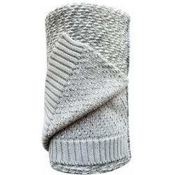 SZARY koc bawełniany z wełną 90x110 cm