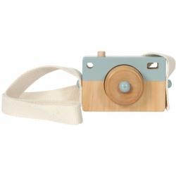 NIEBIESKI drewniany aparat fotograficzny