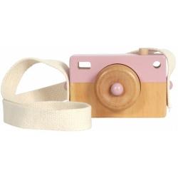 RÓŻOWY drewniany aparat fotograficzny