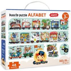 ALFABET duże tekturowe puzzle 48 el. + 9 figurek