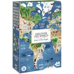 ODKRYJ ŚWIAT mapa świata puzzle tekturowe obserwacyjne 200 el.