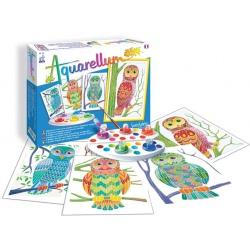 SÓWKI obrazki do malowania z farbkami Aquarellum Junior