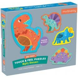 POTĘŻNE DINOZAURY tekturowe puzzle sensoryczne 4w1