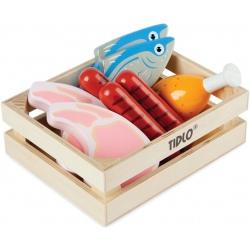 MIĘSO I RYBY drewniane produkty spożywcze w skrzyneczce 9 el.