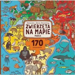 ZWIERZĘTA NA MAPIE puzzle tekturowe 170 el.