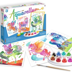 JEDNOROŻCE I PEGAZ obrazki do malowania z farbkami Aquarellum