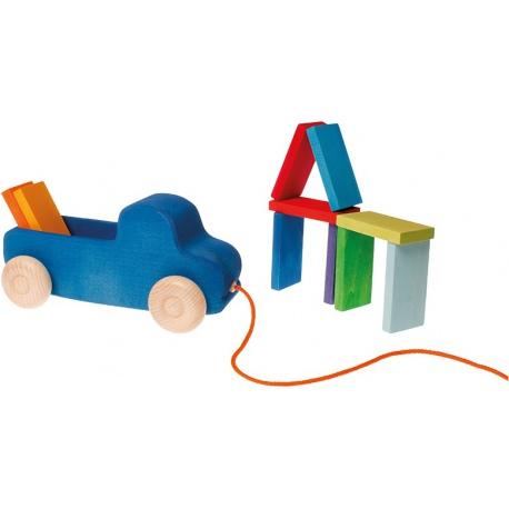 DREWNIANA CIĘŻARÓWKA niebieska zabawka do ciągnięcia