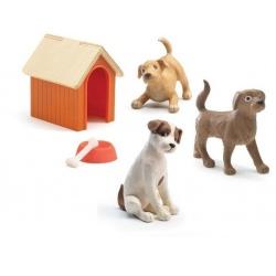 PIESKI z budą zestaw 3 figurki do domku dla lalek