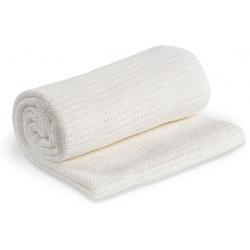 BIAŁY KOCYK bawełniany tkany 120x80 cm