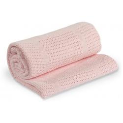 RÓŻOWY KOCYK bawełniany tkany 100x80 cm