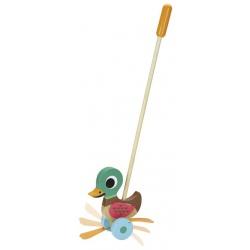 KACZUSZKA drewniana zabawka do pchania
