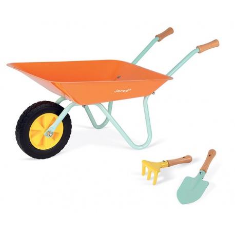 Pomarańczowa metalowa taczka dla dzieci