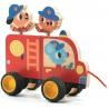 DREWNIANY WÓZ STRAŻACKI zabawka do ciągnięcia Terreno truck
