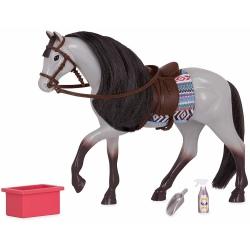 KARODERESZOWATY KOŃ z akcesoriamido pielęgnacji dla lalki 15 cm Blue Roan Horse