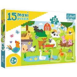 ZWIERZĄTKA NA WSI puzzle tekturowe maxi 15 el.