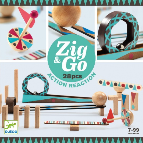 TOR KULKOWY drewniany zestaw kreatywny Zig&Go 28 el.