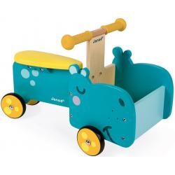 HIPOPOTAM drewniany jeździk ze skrzynią
