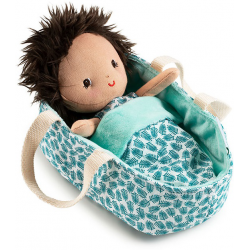 ARI lalka dzidziuś w koszyczku z ubrankiem i kocykiem