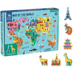 MAPA ŚWIATA puzzle tekturowe z elementami w kształcie budynków i zwierząt78 el.