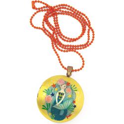 SYRENKA kolorowy naszyjnik medalion Lovely Paper