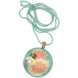 ŁABĘDŹ kolorowy naszyjnik medalion Lovely Paper