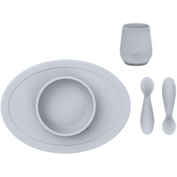 KOMPLET PIERWSZYCH NACZYŃ SILIKONOWYCH pastelowa szarość First Foods Set