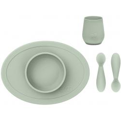 KOMPLET PIERWSZYCH NACZYŃ SILIKONOWYCH pastelowa zieleń First Foods Set