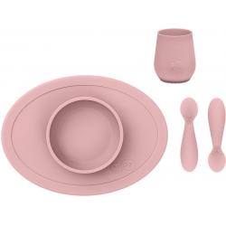 KOMPLET PIERWSZYCH NACZYŃ SILIKONOWYCH pastelowy róż First Foods Set