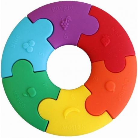 TĘCZOWE KÓŁKO pierwsze puzzle sensoryczne 6 el.