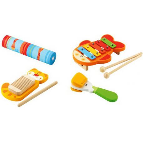 KOLOROWY DREWNIANY zestaw rytmiczny 4 instrumenty