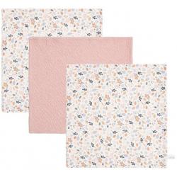 BAWEŁNIANE CHUSTECZKI zestaw 3 szt. 25x25 cm Pure Pink/Spring Flowers