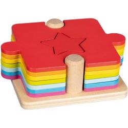 KSZTAŁTY I KOLORY drewniane puzzle gra 2w1