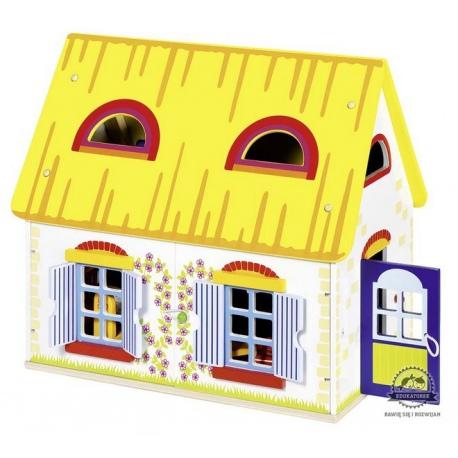 Drewniany domek dla lalek z mebelkami