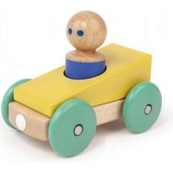 YELLOW drewniana magnetyczna wyścigówka