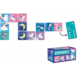 MAGICZNE JEDNOROŻCE tekturowa gra domino 28 el.