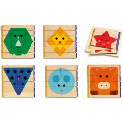 PUZZLE BASIC drewniana układanka patyczki