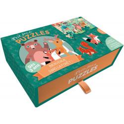 LEŚNY ŚWIAT tekturowe puzzle + kartonowe zwierzątka