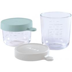 AIRY GREEN LIGHT MIST zestaw szklanych słoiczków do żywności 2 szt. 150ml i 250ml